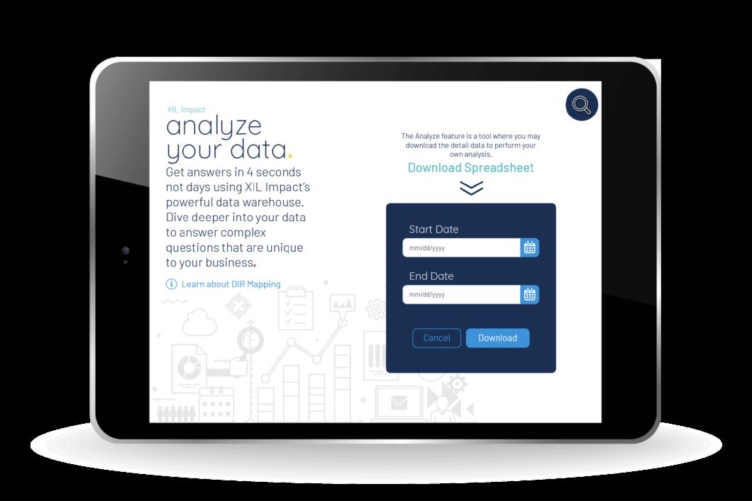 Analyze Data Screen for XIL Impact